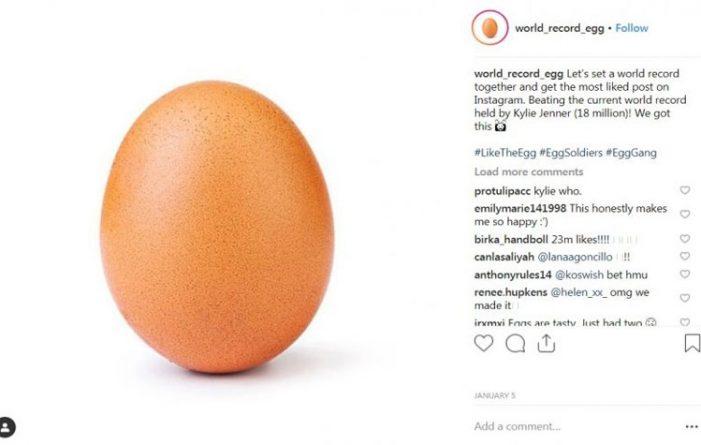 Ενα αυγό συγκέντρωσε 22,5 εκ likes στο Ιnstagram